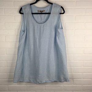 Flax Linen Tank Top Blouse Light Blue Summer